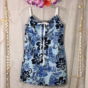 TAPA THREADS Short Aloha Dress Keyhole Tie Front